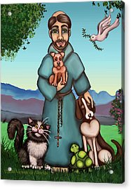 St. Francis Libertys Blessing Acrylic Print by Victoria De Almeida