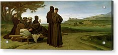 Saint Francis Of Assisi, While Being Carried To His Final Resting Place At Saint-marie-des-anges Acrylic Print by Francois Leon Benouville