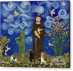 St. Francis Starry Night Acrylic Print by Sue Betanzos