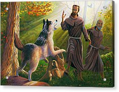St. Francis Taming The Wolf Acrylic Print by Steve Simon