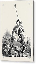 St. George Slaying The Dragon From The Old Palace At Prague Acrylic Print by English School