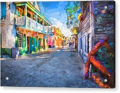 St George Street St Augustine Florida Painted Acrylic Print by Rich Franco