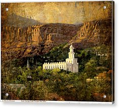 St. George Temple Red Hills Antique Acrylic Print
