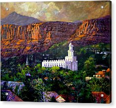 St. George Temple Red Hills Acrylic Print