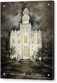 St. George Utah Temple At Night Acrylic Print