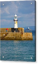 St Ives And Godrevy Lighthouses Cornwall Acrylic Print by Terri Waters