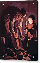 St Joseph As The Carpenter With Child Jesus Acrylic Print by Celestial Images