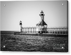 St. Joseph Lighthouses Black And White Picture  Acrylic Print by Paul Velgos