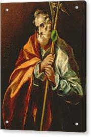 St. Jude Thaddeus, 1606 Oil On Canvas Acrylic Print by El Greco