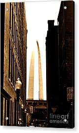St. Louis Arch Through Buildings Acrylic Print by Utopia Concepts