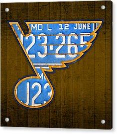 St Louis Blues Hockey Team Retro Logo Vintage Recycled Missouri License Plate Art Acrylic Print by Design Turnpike