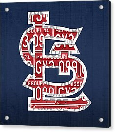 St. Louis Cardinals Baseball Vintage Logo License Plate Art Acrylic Print