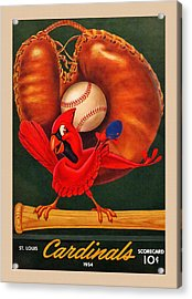 St. Louis Cardinals Vintage 1954 Scorecard Acrylic Print by Big 88 Artworks