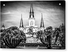 St. Louis Cathedral In New Orleans Black And White Picture Acrylic Print by Paul Velgos