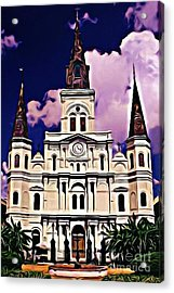 St Louis Cathedral In New Orleans Acrylic Print by John Malone