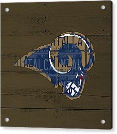 St Louis Rams Football Team Retro Logo Recycled Missouri License Plate Art Acrylic Print by Design Turnpike