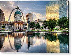 Downtown St. Louis City Reflections Acrylic Print
