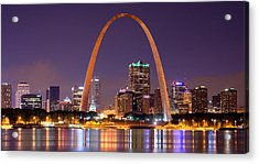 St. Louis Skyline At Night Gateway Arch Color Panorama Missouri Acrylic Print