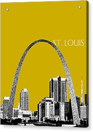 St Louis Skyline Gateway Arch - Gold Acrylic Print by DB Artist