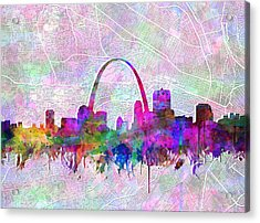St Louis Skyline Watercolor 6 Acrylic Print