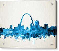 St Louis Skyline Watercolor Acrylic Print