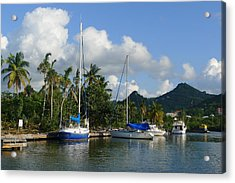 Acrylic Print featuring the photograph St. Lucia - Cruise - Boats At Dock by Nora Boghossian