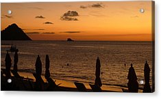 Acrylic Print featuring the photograph St. Lucia - Sundown - Closed Umbrellas by Nora Boghossian