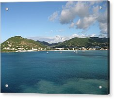 St Maarten At A Distance Acrylic Print by Jean Marie Maggi