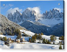 St. Magdalena Village In The Snow In Winter Acrylic Print