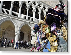 St Mark Square By Doges Palace Acrylic Print by Sami Sarkis