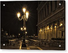 Acrylic Print featuring the photograph St Mark's Square At Night by Marion Galt