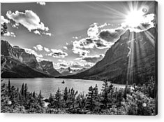 St. Mary Lake Bw Acrylic Print by Aaron Aldrich