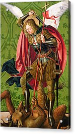 St. Michael Killing The Dragon  Acrylic Print by Josse Lieferinxe
