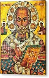 St Nicholas' Icon Acrylic Print by Dragica  Micki Fortuna