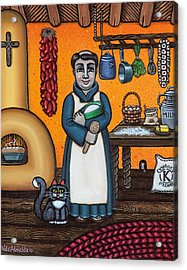 St. Pascual Making Bread Acrylic Print by Victoria De Almeida
