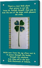 St. Patrick's Day Greetings Acrylic Print by The Creative Minds Art and Photography