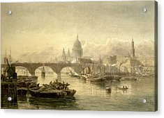 St. Pauls Cathedral And London Bridge Acrylic Print by Edward Angelo Goodall