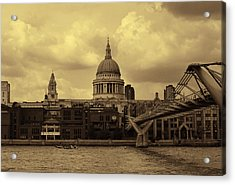St Paul's Cathedral And Millennium Bridge London Acrylic Print by Nicky Jameson