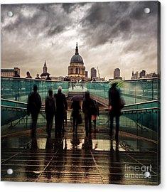 St Paul's In The Rain Acrylic Print