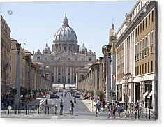 St Peter Basilica Viewed From Via Della Conciliazione. Rome Acrylic Print by Bernard Jaubert