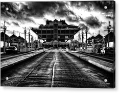 St Petersburg Pier In Monochrome Hdr Acrylic Print by Michael White