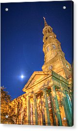 St. Phillip's At Night With Moon And Stars Acrylic Print