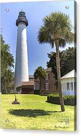 St. Simmons Lighthouse Acrylic Print by Linda Blair