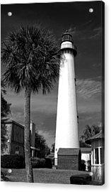 St. Simons Island Georgia Lighthouse In Black And White Acrylic Print