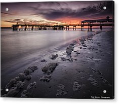 St. Simons Pier At Sunset Acrylic Print by Fran Gallogly