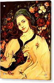 St. Therese Acrylic Print by Carrie Joy Byrnes