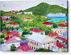 St. Thomas View Acrylic Print by Teri  Jones