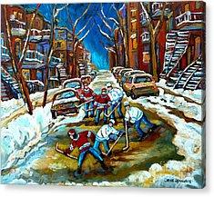 St Urbain Street Boys Playing Hockey Acrylic Print by Carole Spandau