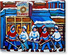 St Viateur Bagel Hockey Game Montreal City Scene Acrylic Print by Carole Spandau