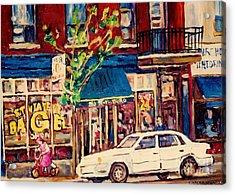 St Viateur Bagel Shop Corner Park Avenue Montreal Streetscenes Acrylic Print by Carole Spandau